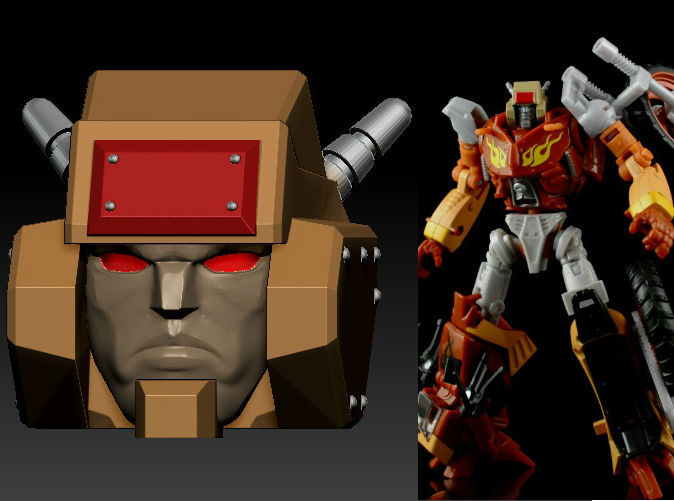 Fully Painted Metal Head printed in Clear Frosted Ultra Detail on TF Gen. Wreck-Gar (Custom paint up by Xaviercal)