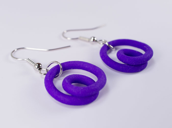 Printed in purple, earring wires added