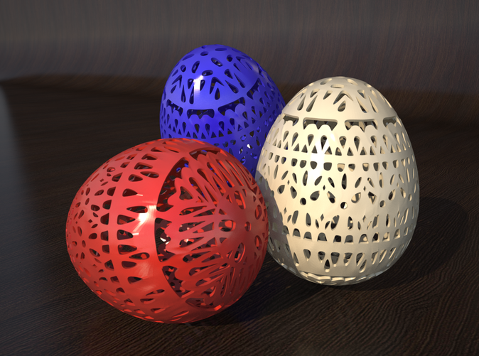 rendering of different egg colours