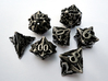 Pinwheel Dice Set with Decader 3d printed In stainless steel and inked.