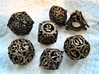 Steampunk Gear Dice Set 3d printed Customer photograph of White Strong and Flexible dyed black and painted (see link in description)
