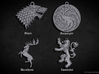 GoT Pendant Set 3d printed Render of model, detail may vary