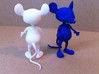 Tiny Mouse 3d printed White Strong and Flexible, and Royal Blue Strong, Flexible and Polished
