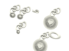 Bright Heart Pendant Key Chain And Jewelry Set 3d printed white plastic look