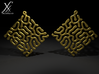 Reacting Earrings 3d printed Cycle render. Gold metal.