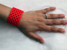 Circles & Squares Cuff (Size L) 3d printed Printed in Red Polished Strong & Flexible Plastic