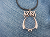 The Owl Pendant 3d printed Shown in Stainless Steel (jump ring and cord not included)