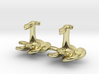 Marine cufflinks with propeller and anchor 3d printed