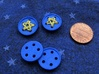 "5/8"" five-holed buttons (dozen) 3d printed beta test printed in Royal Blue"