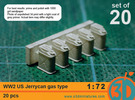 WW2 US gas Jerricans 1/72 scale pack of 20 in Frosted Ultra Detail