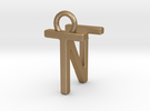Two way letter pendant - NT TN in Matte Gold Steel