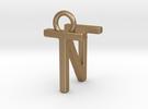 Two way letter pendant - NT TN in Matte Gold Steel