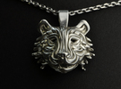 The Tiger Pendant in Polished Silver