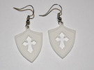 Shield Cross Cutout Pendant/Charm in White Strong & Flexible