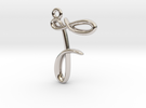 F Initial Charm in Rhodium Plated