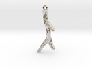 Short Textured Branch Earring or Pendant in Rhodium Plated