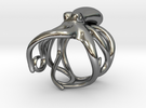 Octopus Ring 21mm in Polished Silver