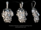 Portrait of the Blind Homer, pendant in Polished Silver