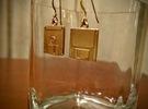 3 1/2 inch Floppy Disk Earrings in Polished Brass