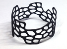 Cells Bracelet (open, 64mm) in Black Strong & Flexible