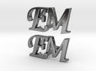 EM Cufflinks in Polished Silver