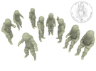 Generic Astronauts Set / 1:87(H0) in White Strong & Flexible