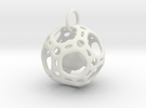 Dodecahedron inside a Dodecahedron Pendant  in White Strong & Flexible