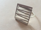 Projective Plane Ring   in Polished Silver: 7 / 54