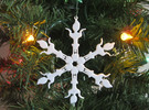 Snowflake Scrat Ornament in White Strong & Flexible