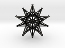 Stellated Icosahedron - 12 stars interlocking in Matte Black Steel