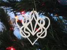 Christmas Ornament Deco Heart  in White Strong & Flexible