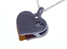 Heart Pendant Letter Big A in Polished Grey Steel