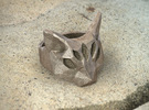 Polygonal cat ring: size 8 (US) Q (UK) in Polished Bronze Steel