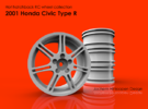 2001 Honda Civic Type R 1/10th RC wheel in White Strong & Flexible