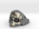 skull ring 7.5 in Polished Silver
