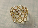 Round Bee Open 3S Ring in 14k Gold Plated