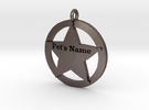 Revised 5 point sheriffs star pet tag in Stainless Steel