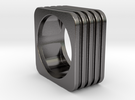 Square Lines Ring  in Polished Nickel Steel
