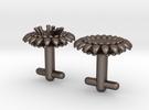 Braille cufflinks flower in Stainless Steel