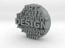 S42 Ellipse Pendant Design, etc. 1 mm walls @40 mm in Polished Metallic Plastic