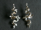 Dragon Earrings 4cm - without hooks in Premium Silver
