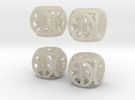 Gear Dice - D6 4 Pack in White Acrylic