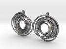 twin rail mobius earrings pair in Polished Silver