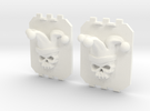 2 Large Tank Doors 3D Jester Skull in White Strong & Flexible Polished