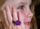 Child Flower Ring Size 2 in Purple Strong & Flexible Polished