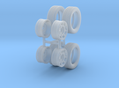 """1:48 Scale 14"""" Turbine Wheels and 195/50R14 Tires in Frosted Ultra Detail"""