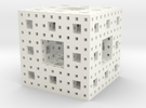 Menger Sponge, 5 cm, level 4 in White Strong & Flexible Polished