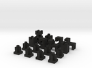 MineMen (chessmen for MineBoard) in Black Acrylic