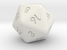 20-sided die (d20) in White Strong & Flexible