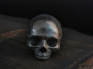 Yorick Skull with Latin Inscription in Polished Nickel Steel